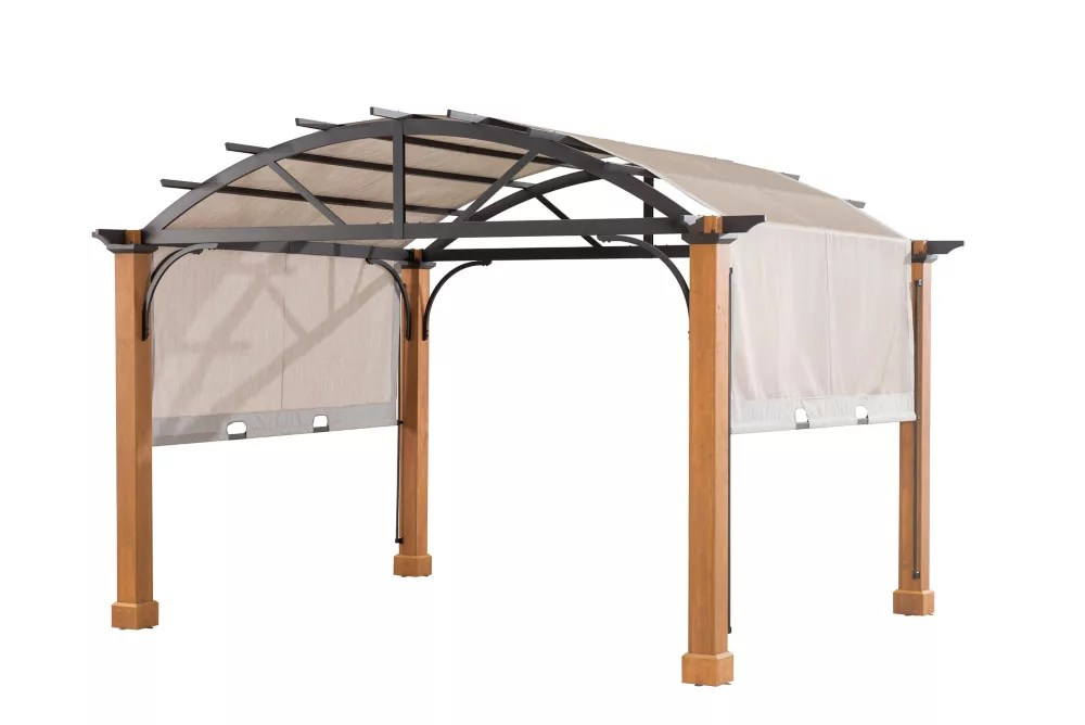 10 ft x 12 ft longford wood outdoor patio pergola with sling canopy