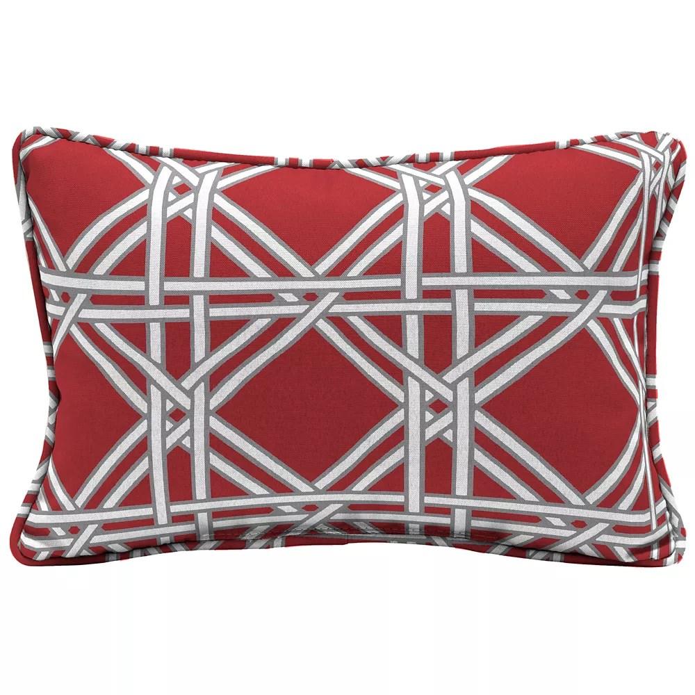 chili wicker lattice lumbar throw pillow