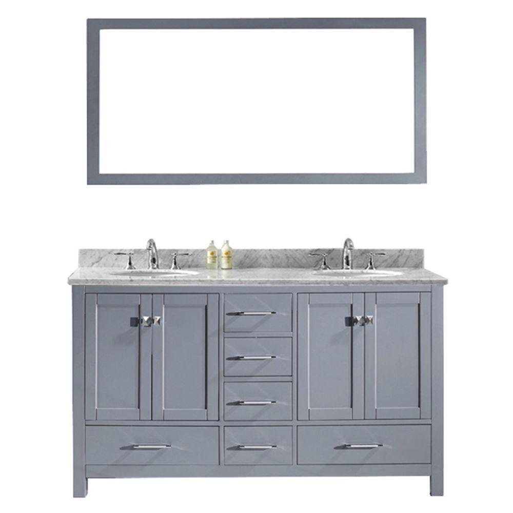 Virtu USA Caroline Avenue 60-inch Double Vanity in Grey ...