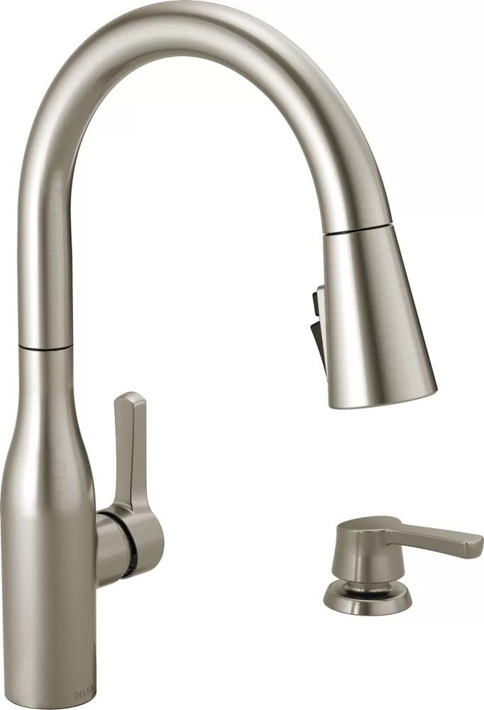 marca single handle pull down kitchen faucet with shieldspray technology in spotshield stainless