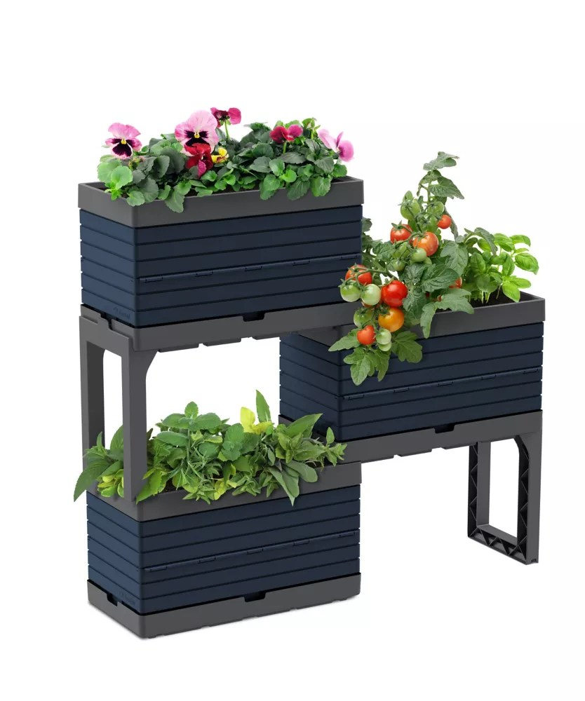 modular garden 3 planters and 2 legs kit blue bering sea perfect for balcony gardens