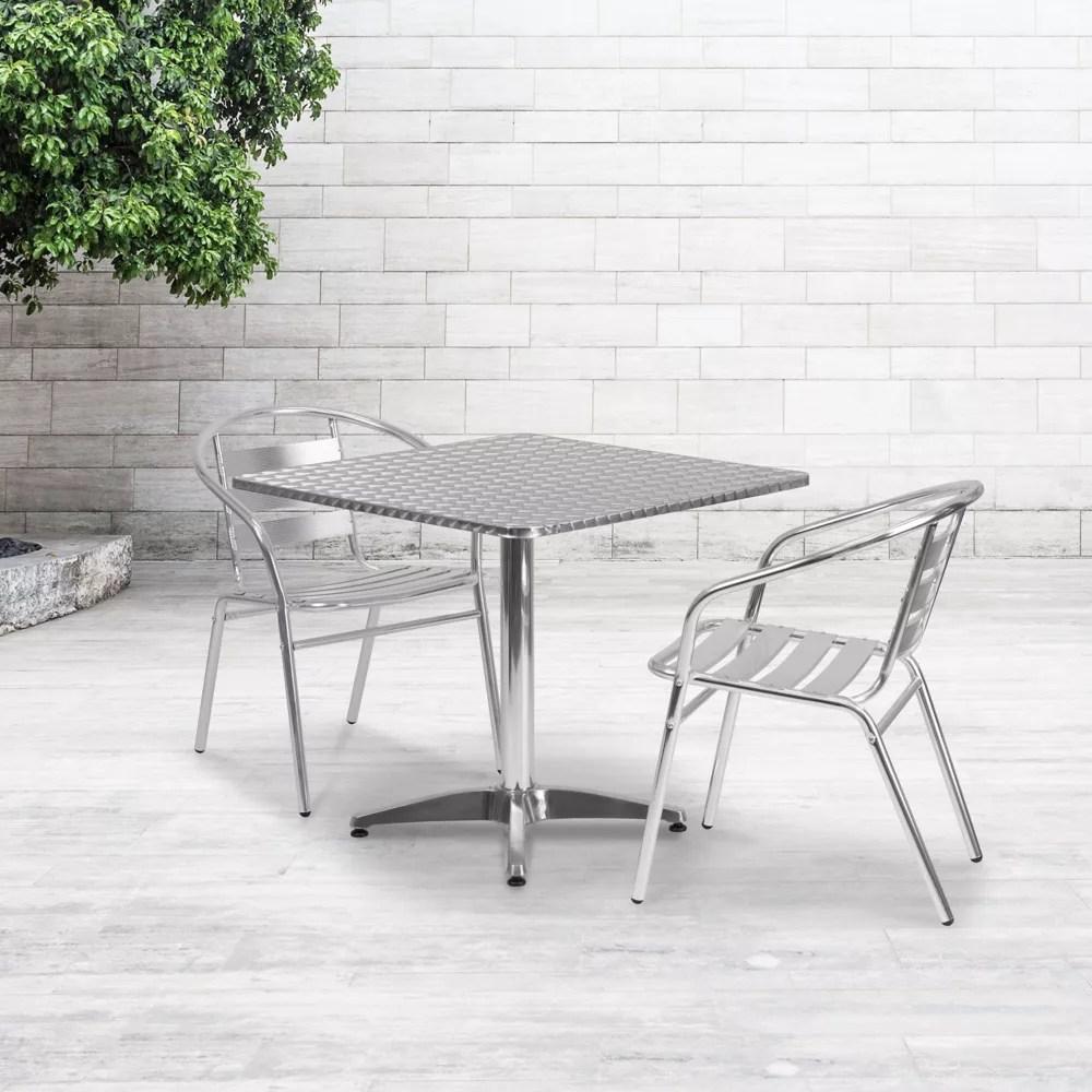 table carree de 31 5 po pour l interieur et l exterieur en aluminium avec base