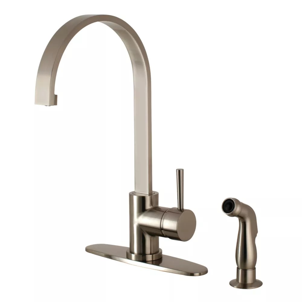 concord single handle standard kitchen faucet with side sprayer in satin nickel