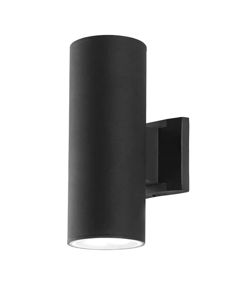 2 light black outdoor cylinder sconce