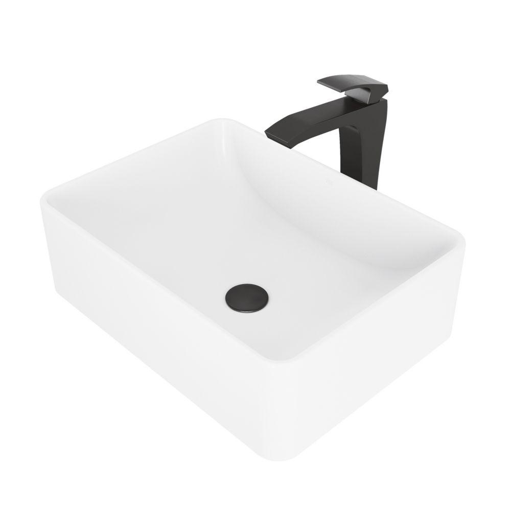amaryllis matte stone vessel bathroom sink and blackstonian bathroom vessel faucet in matte black