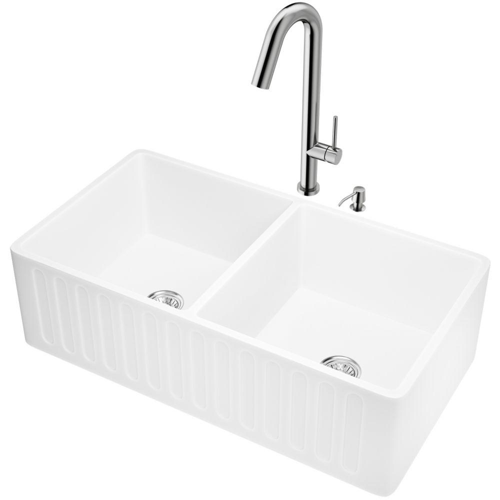 33in mattestone 2 bowl farmhouse kitchen sink w stainless steel faucet strainer soap dispenser
