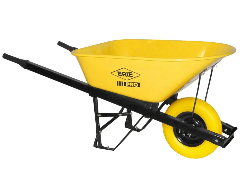 Erie 6 Cu Ft Steel Pro Grade Wheelbarrow With Flat Free Tire The Home Depot Canada