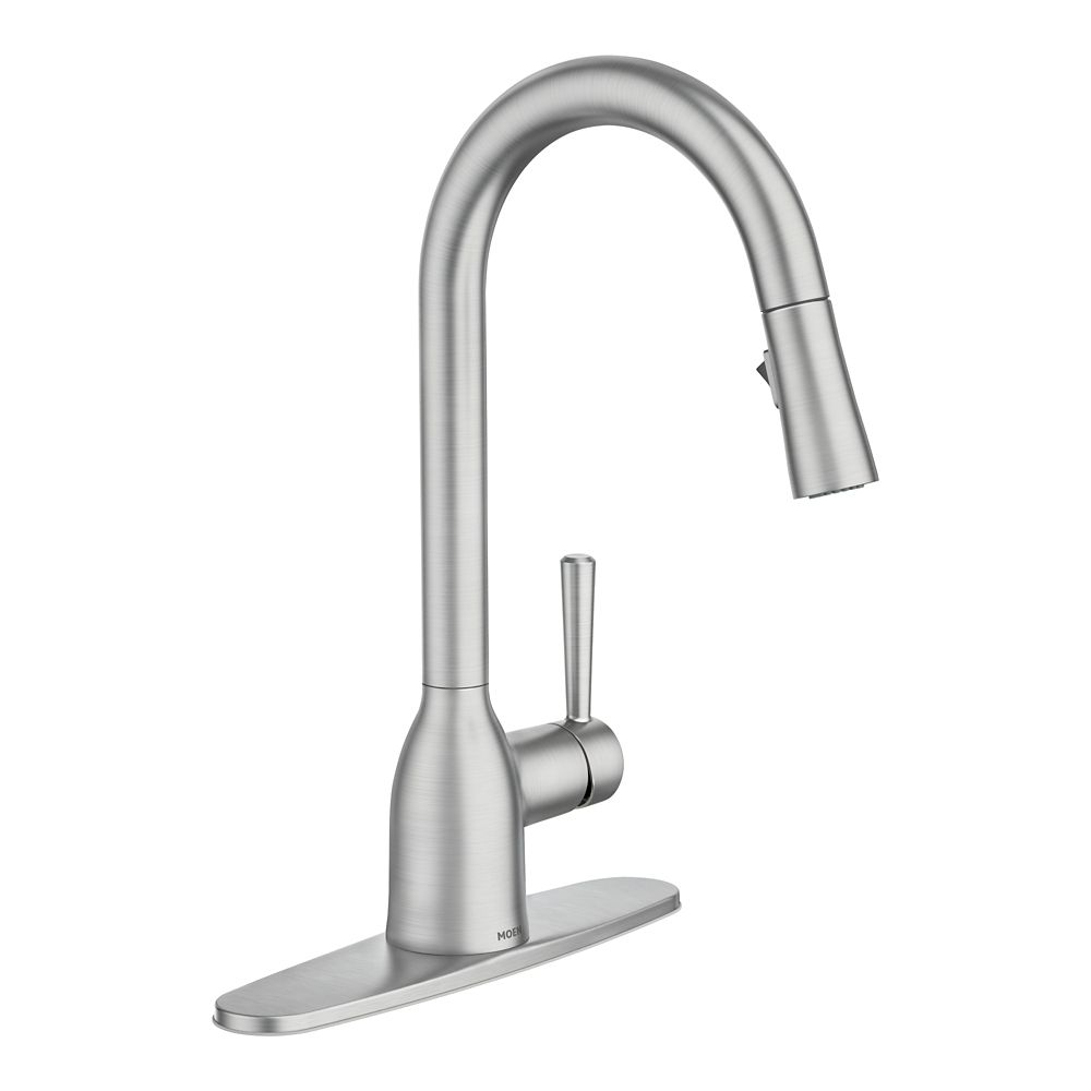 adler single handle pull down sprayer kitchen faucet with reflex in spot resist stainless