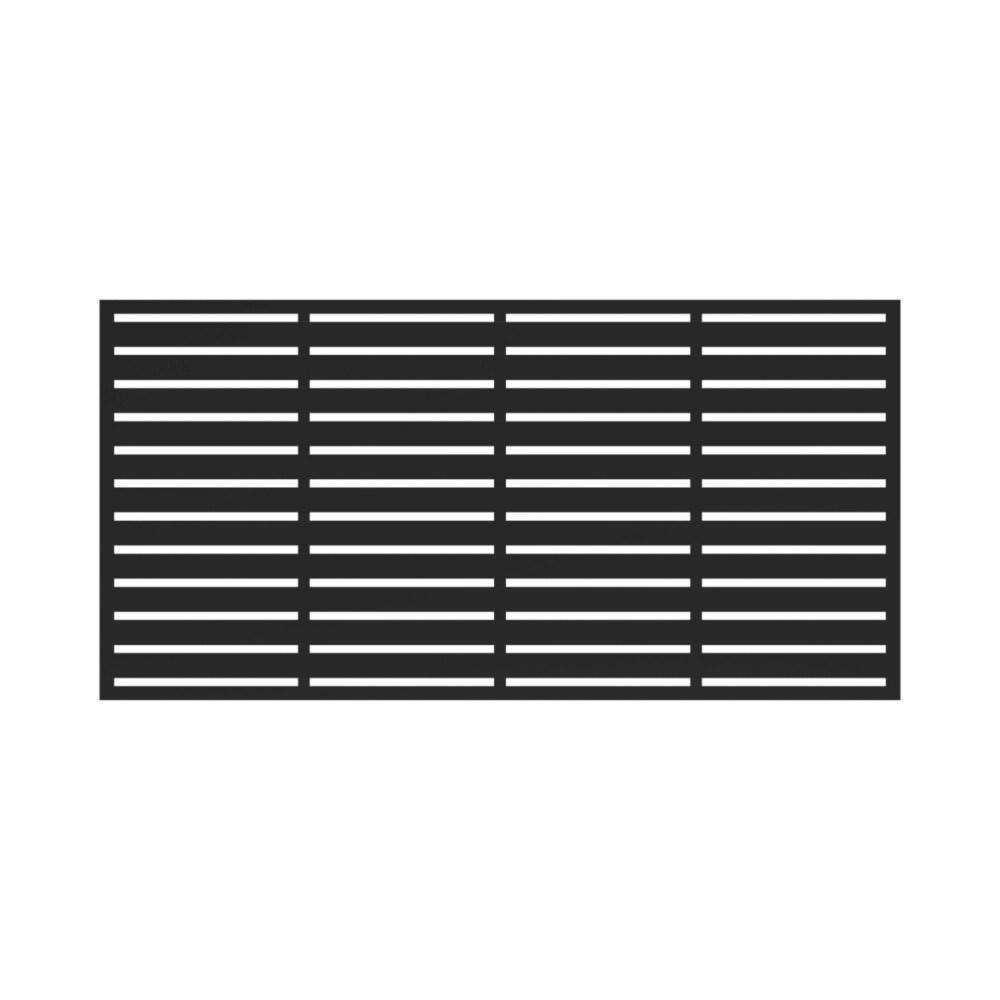 34 in x 68 in decorative boardwalk screen panel in black