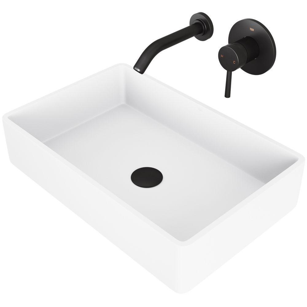 lavabo de salle de bain vasque de salle de bain blanc mat avec robinet mural noir mat