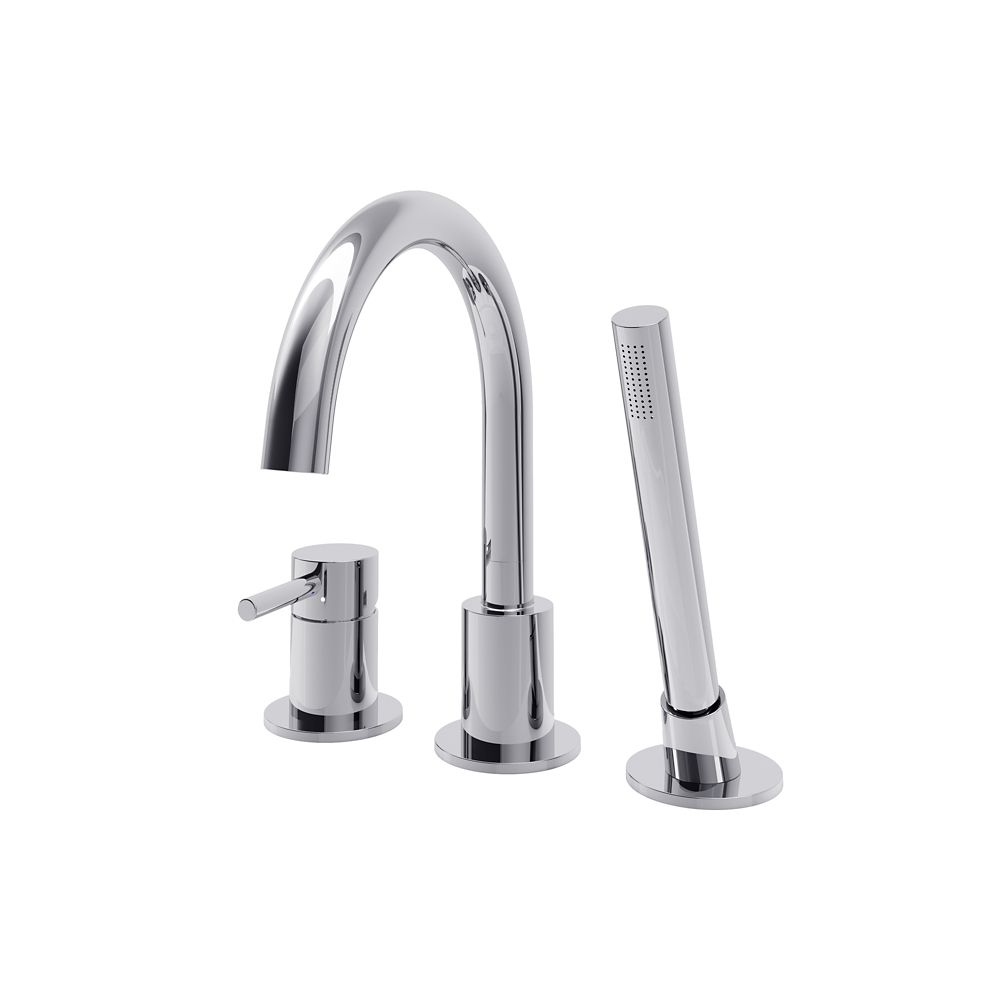 estelle single handle deck mount tub faucet with hand shower in polished chrome