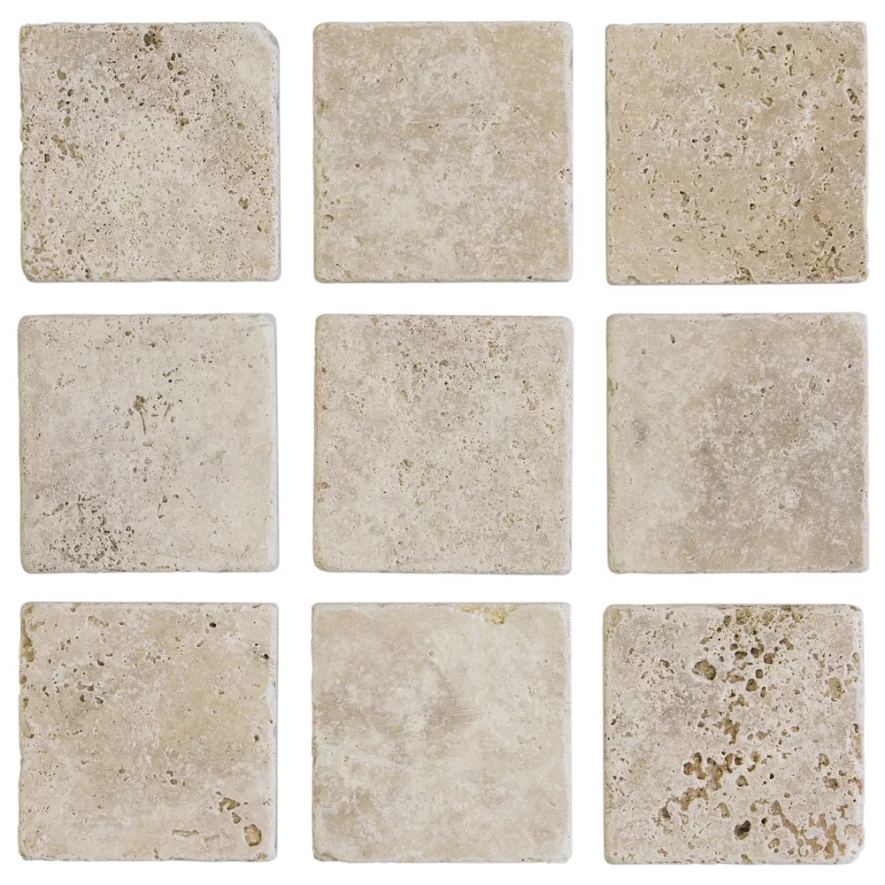 light travertine 4 inch x 4 inch tumbled travertine floor and wall tile 1 sq ft pack