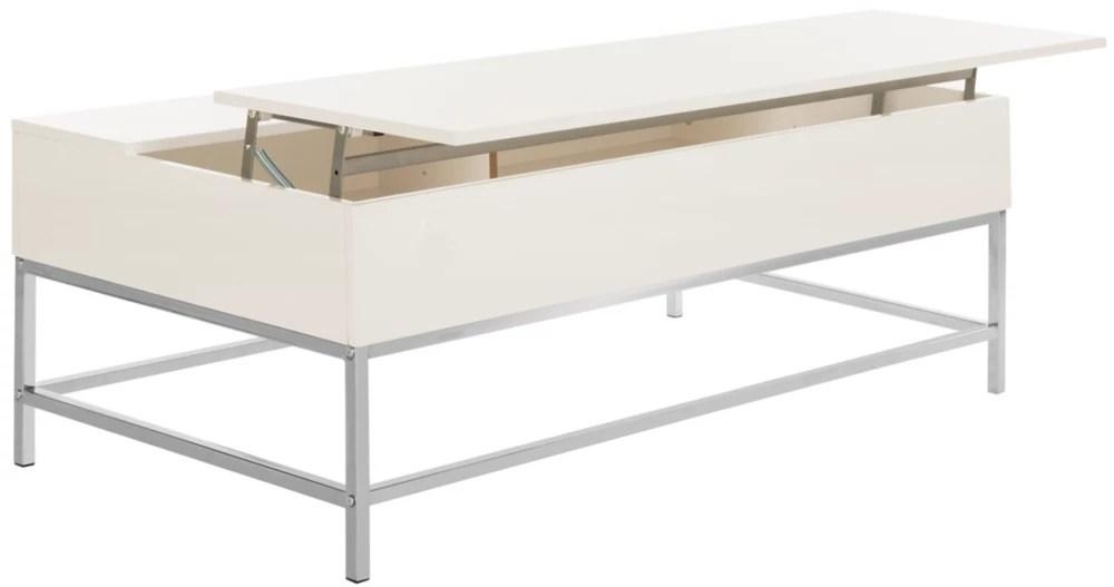 carolina contemporary white lacquer chrome lift top coffee table