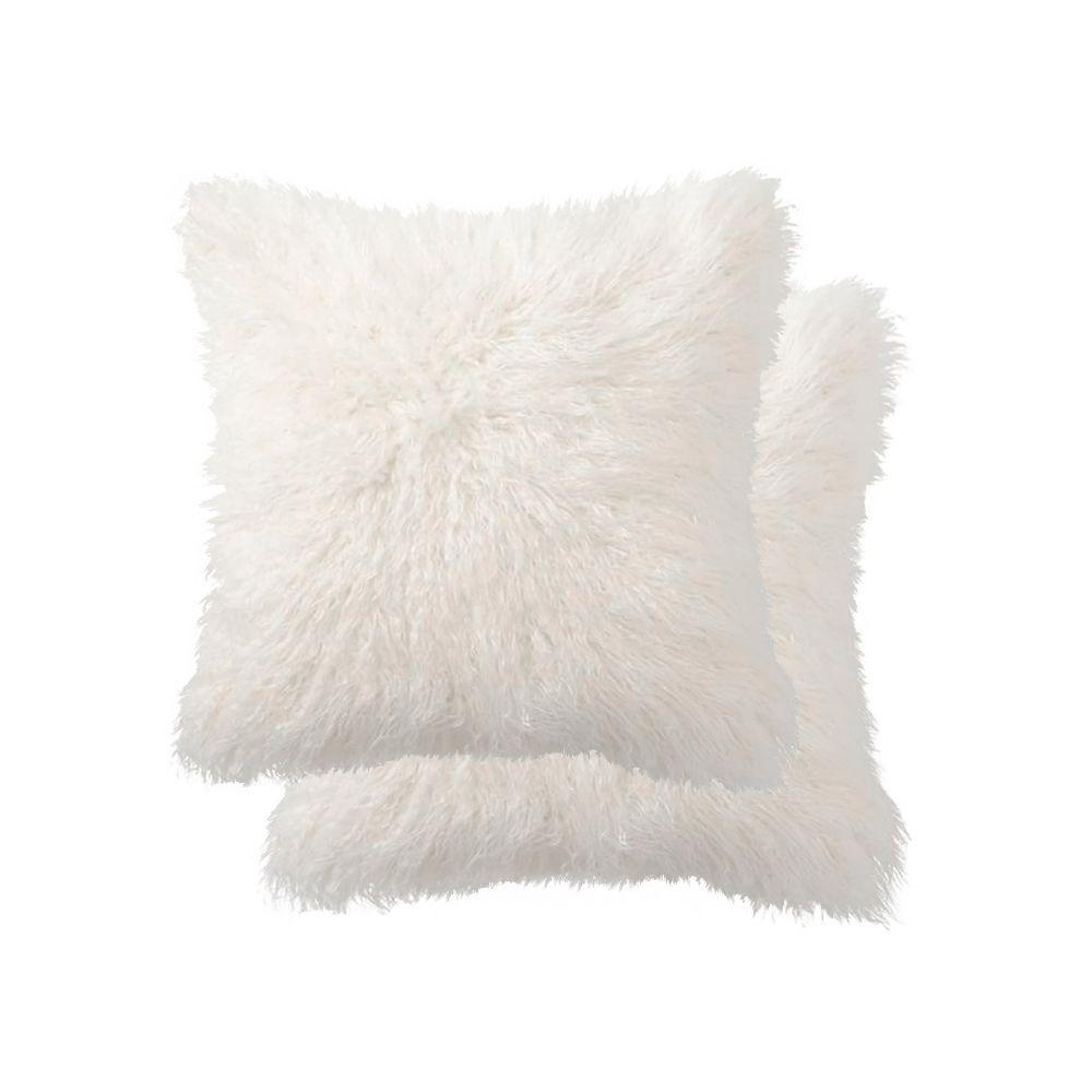 belton faux sheepskin fur 18 inch x 18 inch pillow set of 2 offwhite