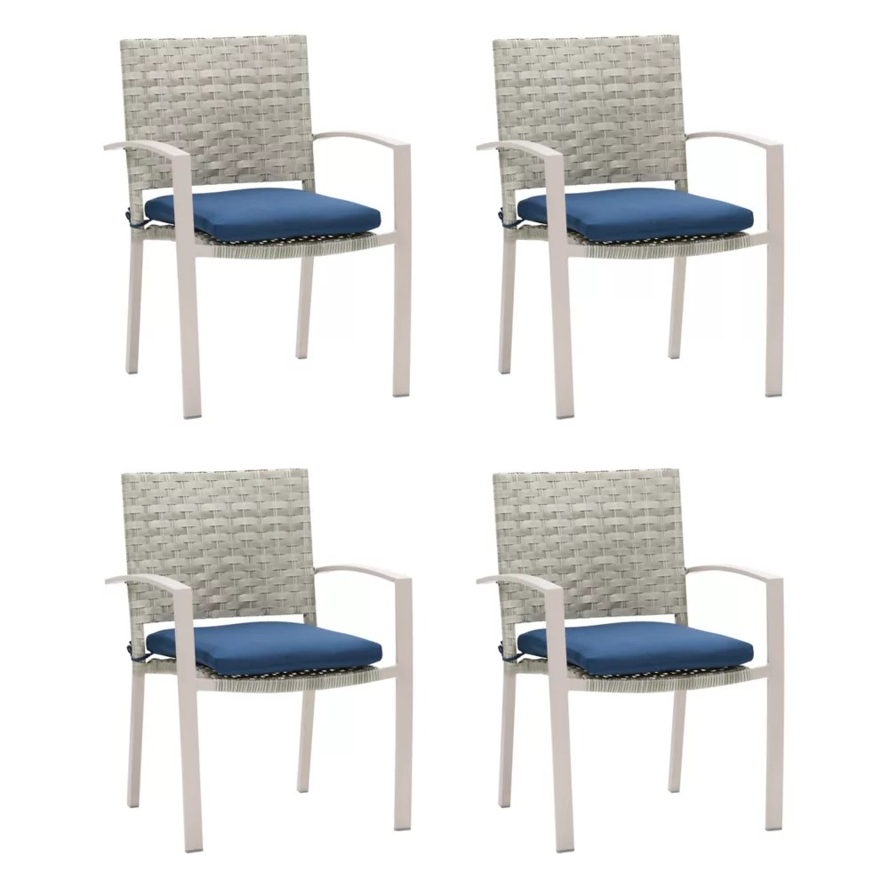 corliving wide rattan wicker patio dining chairs in blended grey with navy blue cushions set of 4