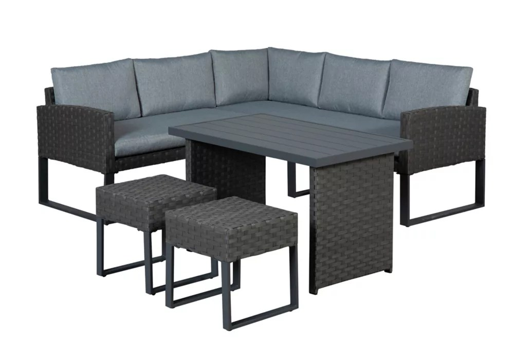 roma 5 piece high table patio sectional set