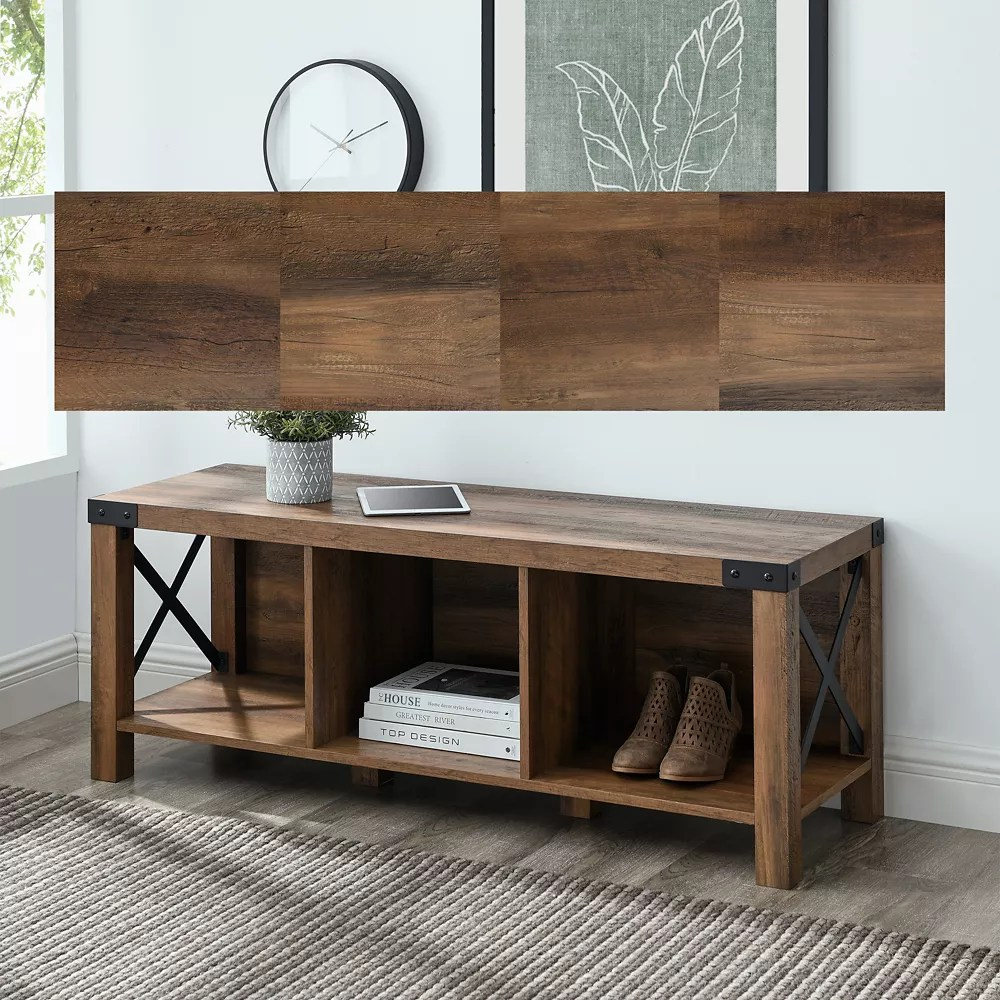 banc d entree en bois et en metal de style campagnard de 121 92 cm 48 po bois de grange recupere