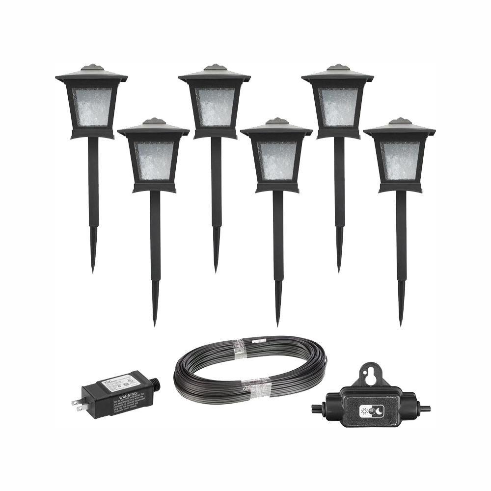 low voltage black outdoor integrated led landscape path light kit 6 pack