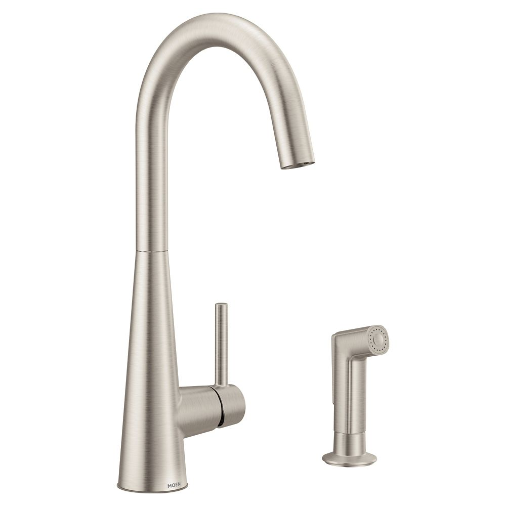 sleek single handle high arc pulldown kitchen faucet in spot resist stainless