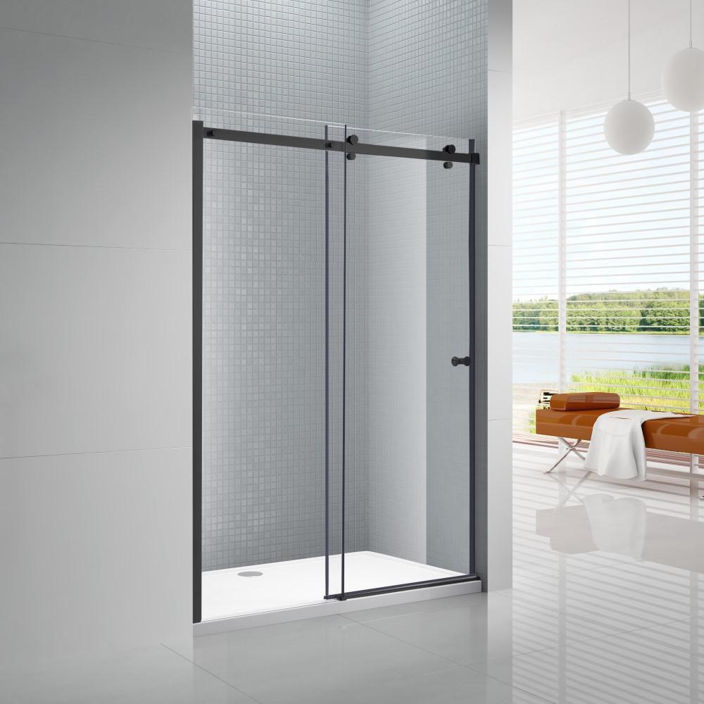 primo 60 po x 72 po porte de douche coulissante noir en verre trempe 6mm avec poignee