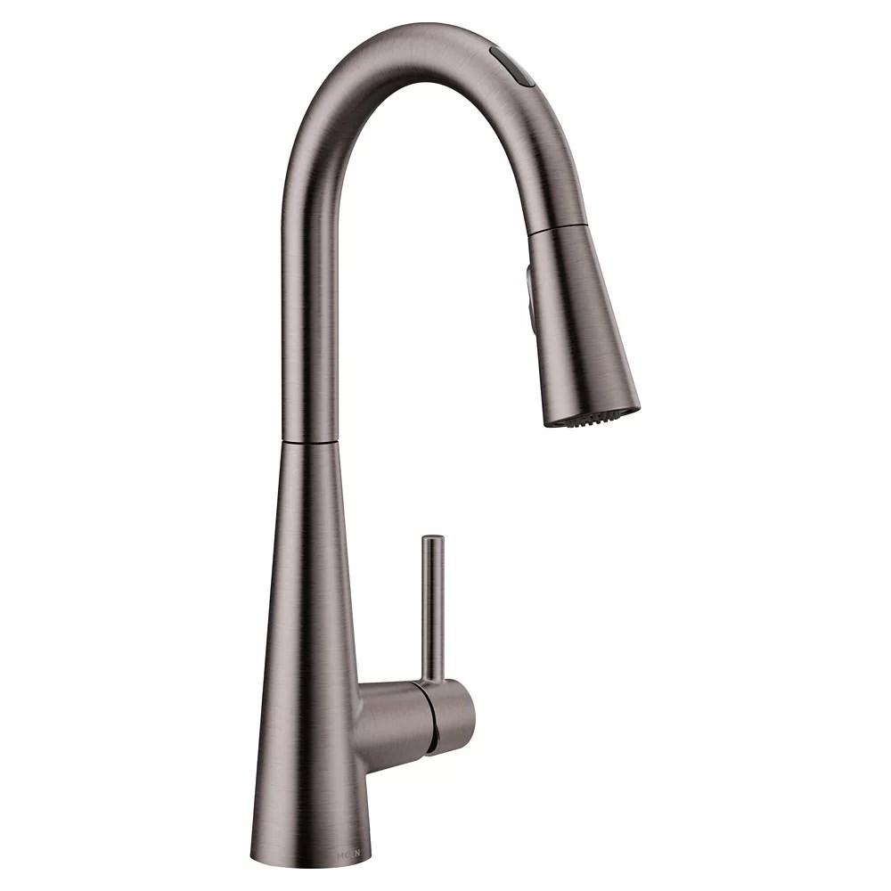 u by moen sleek pull down smart kitchen faucet in black stainless steel