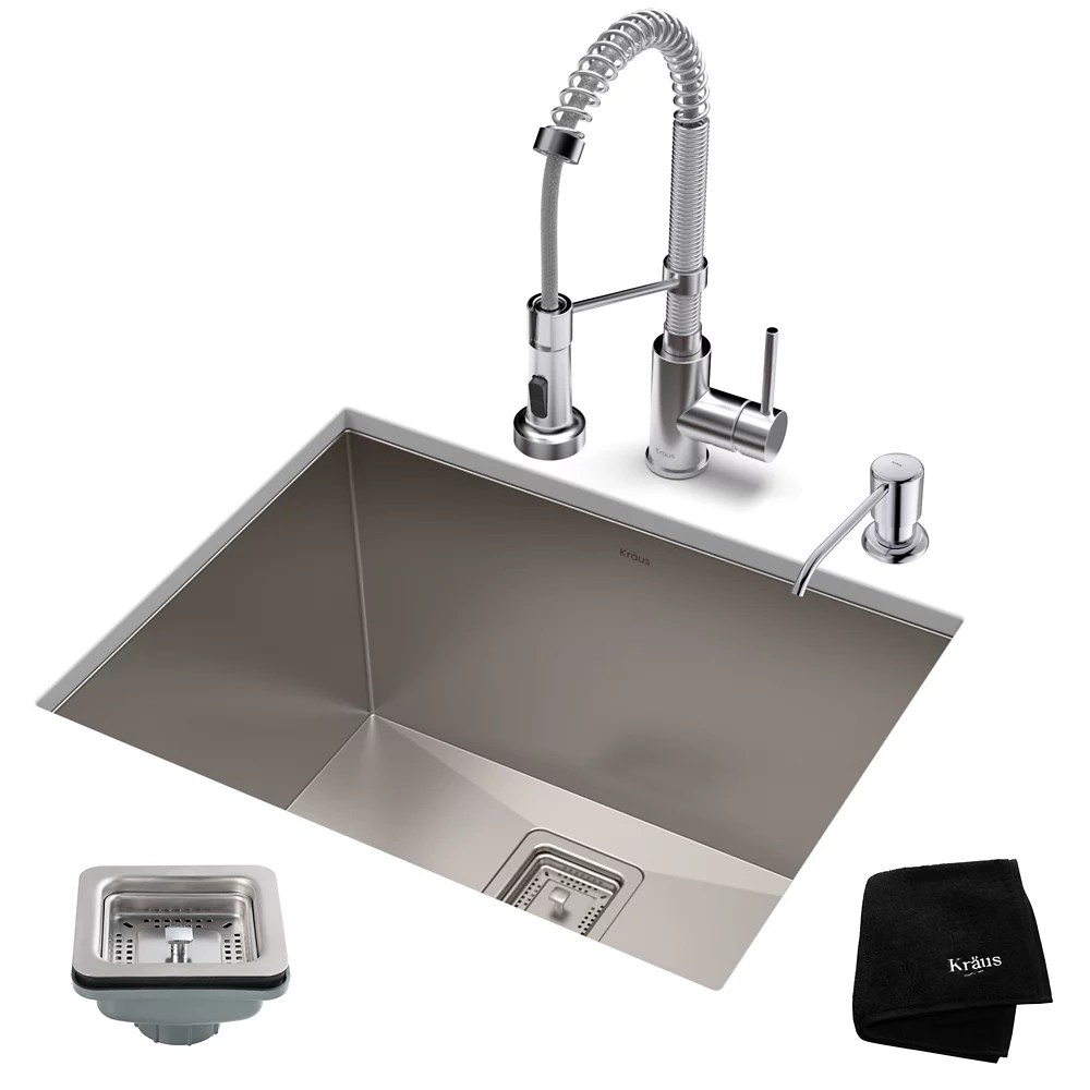24 inch 18 gauge laundry sink with 18 inch faucet and soap dispenser chrome finish