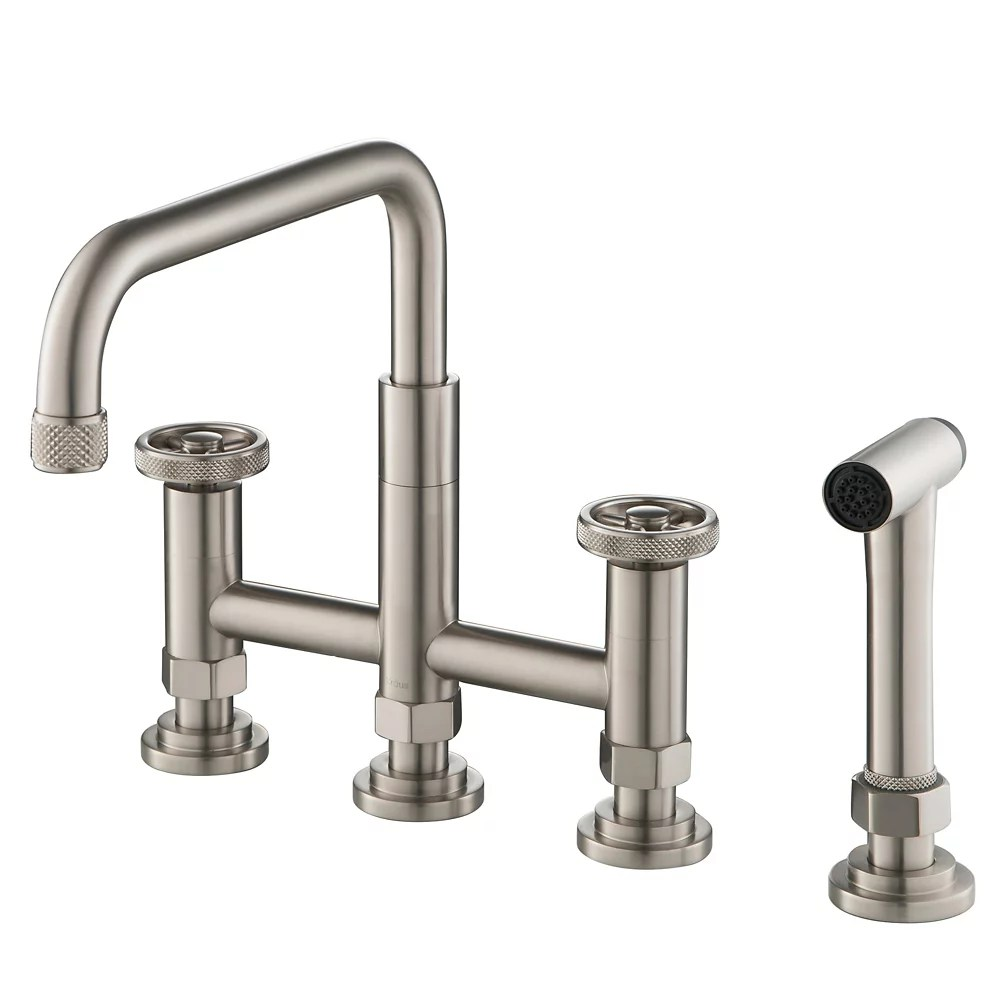 2 handle bridge kitchen faucet with side sprayer in spot free stainless steel