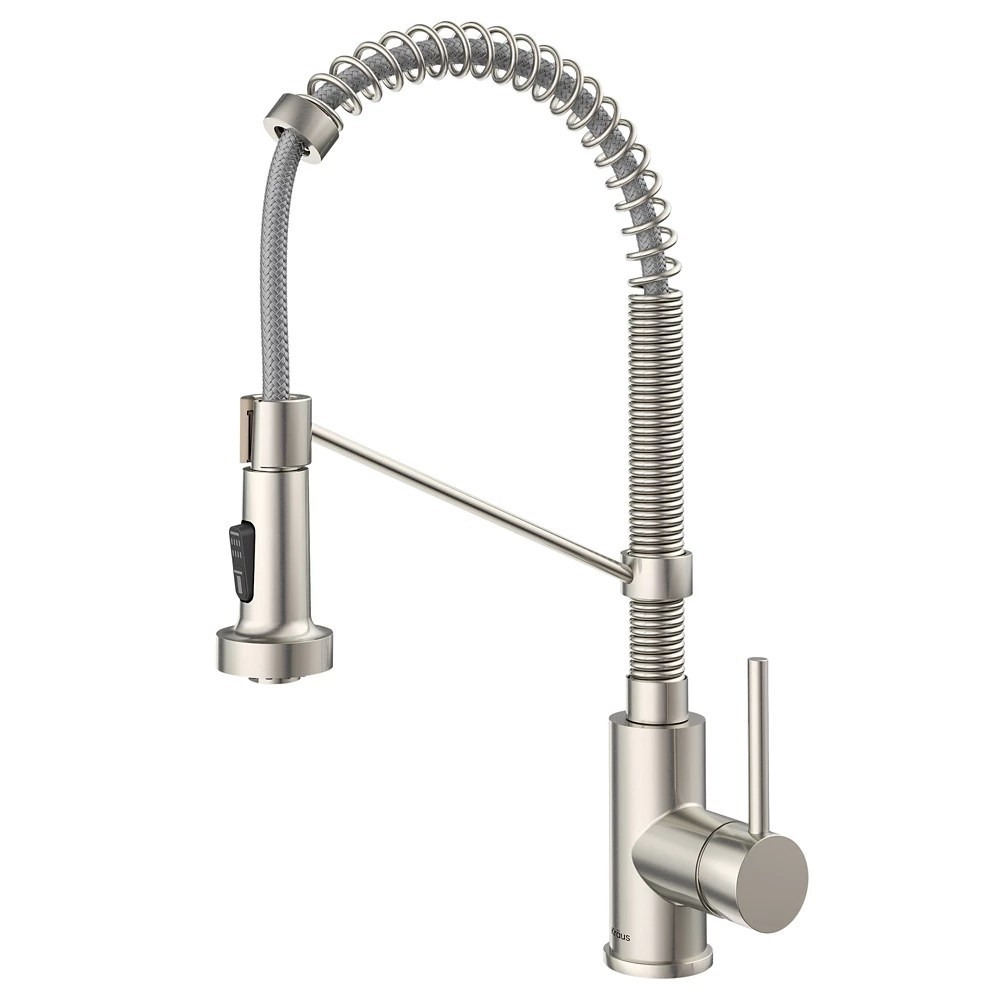 https www homedepot ca product kraus single handle kitchen faucet with dual function pull down sprayer in stainless steel 1001559544