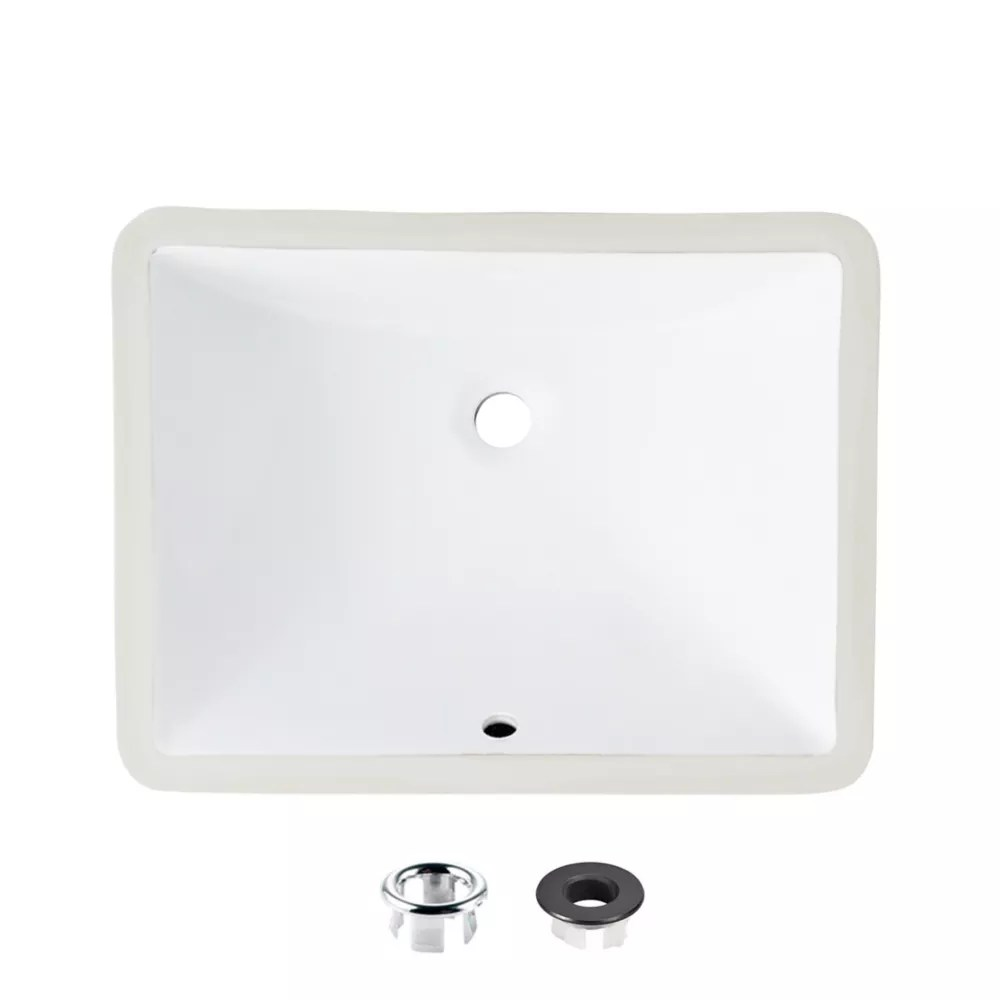 20 inch rectangular undermount ceramic bathroom sink with 2 overflow finishes
