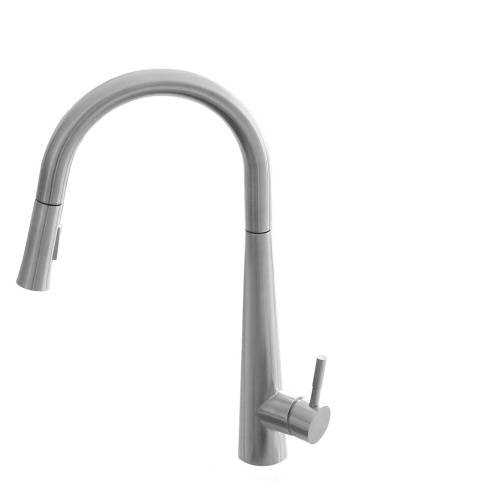modern single handle pull down kitchen faucet in brushed nickel