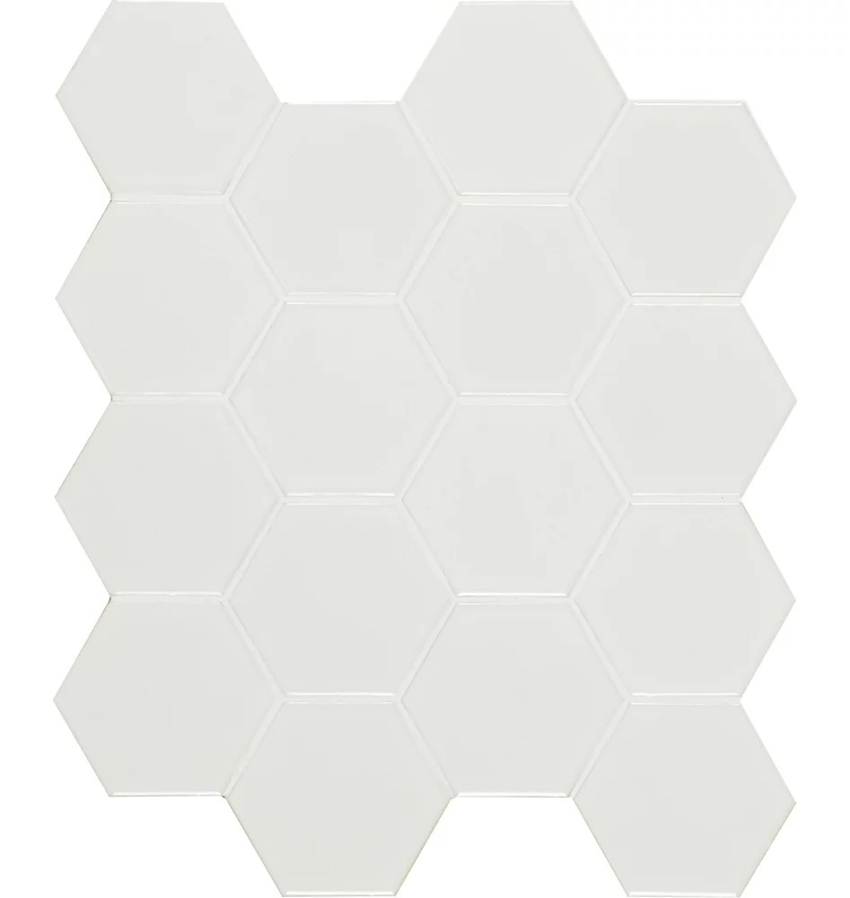 bristol snow hexagon 10 38 in x 11 97 in x 6 mm porcelain mesh mounted mosaic tile 0 86 sq ft