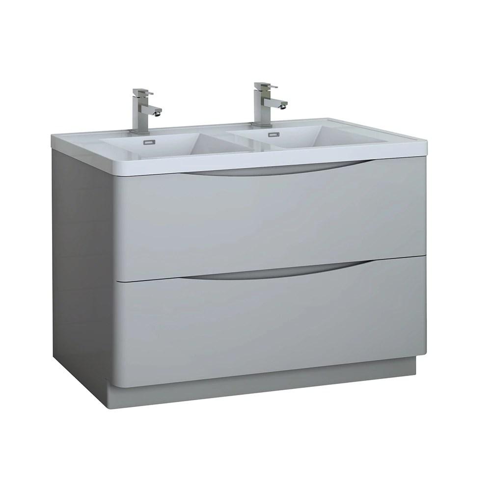tuscany 48 inch glossy gray free standing double sink bathroom vanity acrylic top