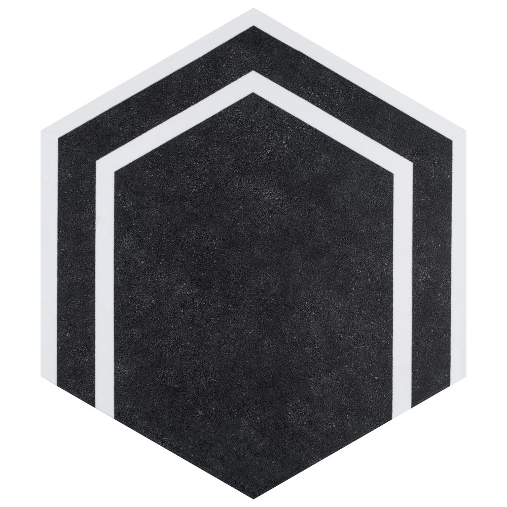 sample labyrinth hex black 8 5 8 inch x 9 7 8 inch porcelain floor and wall tile
