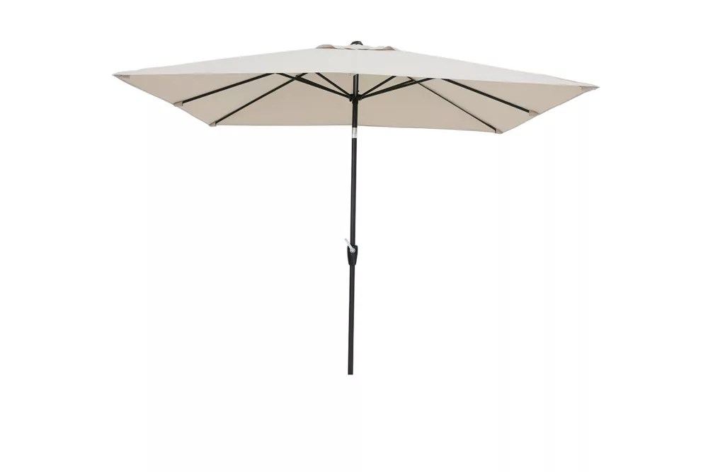 9 ft x 7 ft aluminum market patio umbrella with push button and tilt crank in tan
