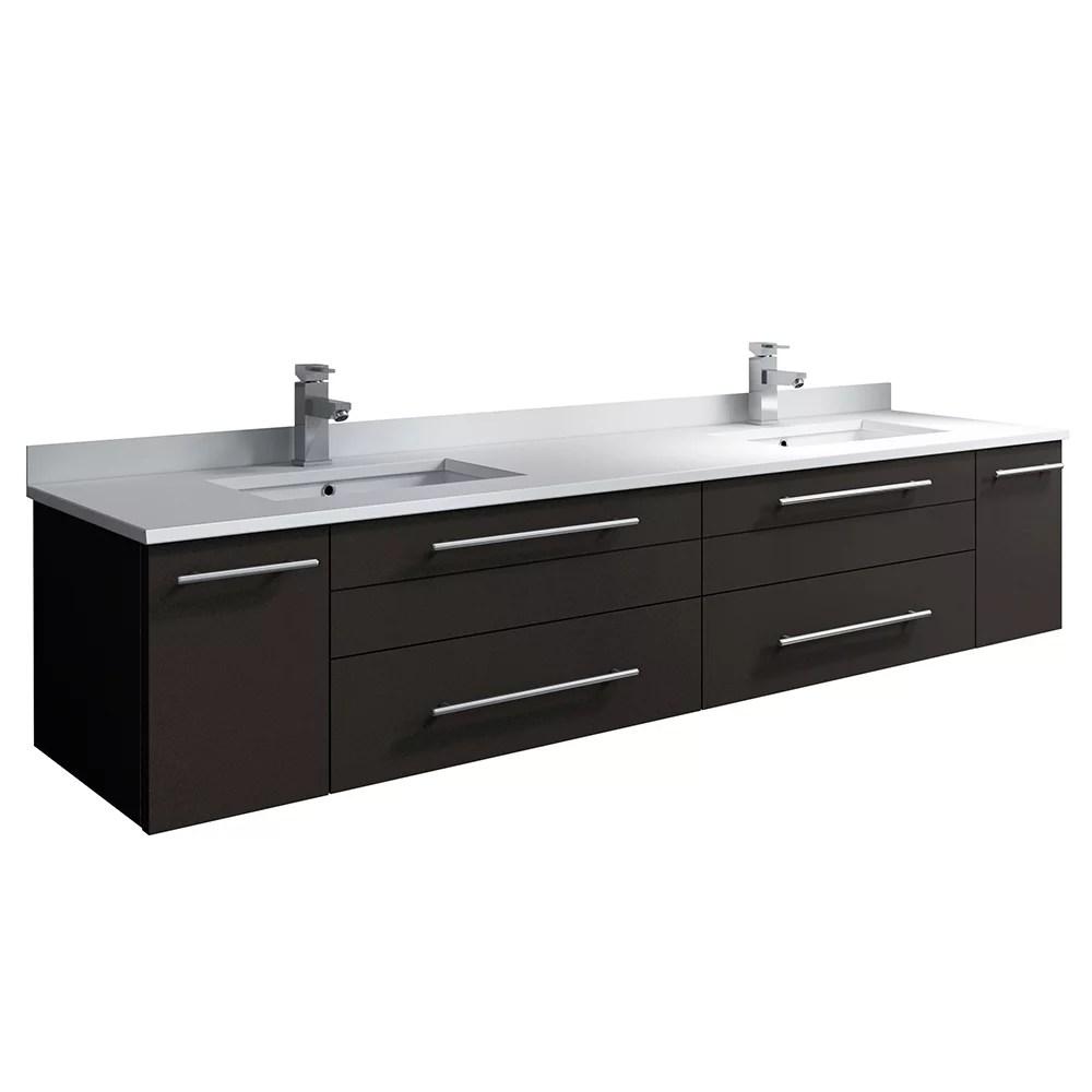 lucera 72 inch espresso wall hung double undermount sink modern bathroom vanity