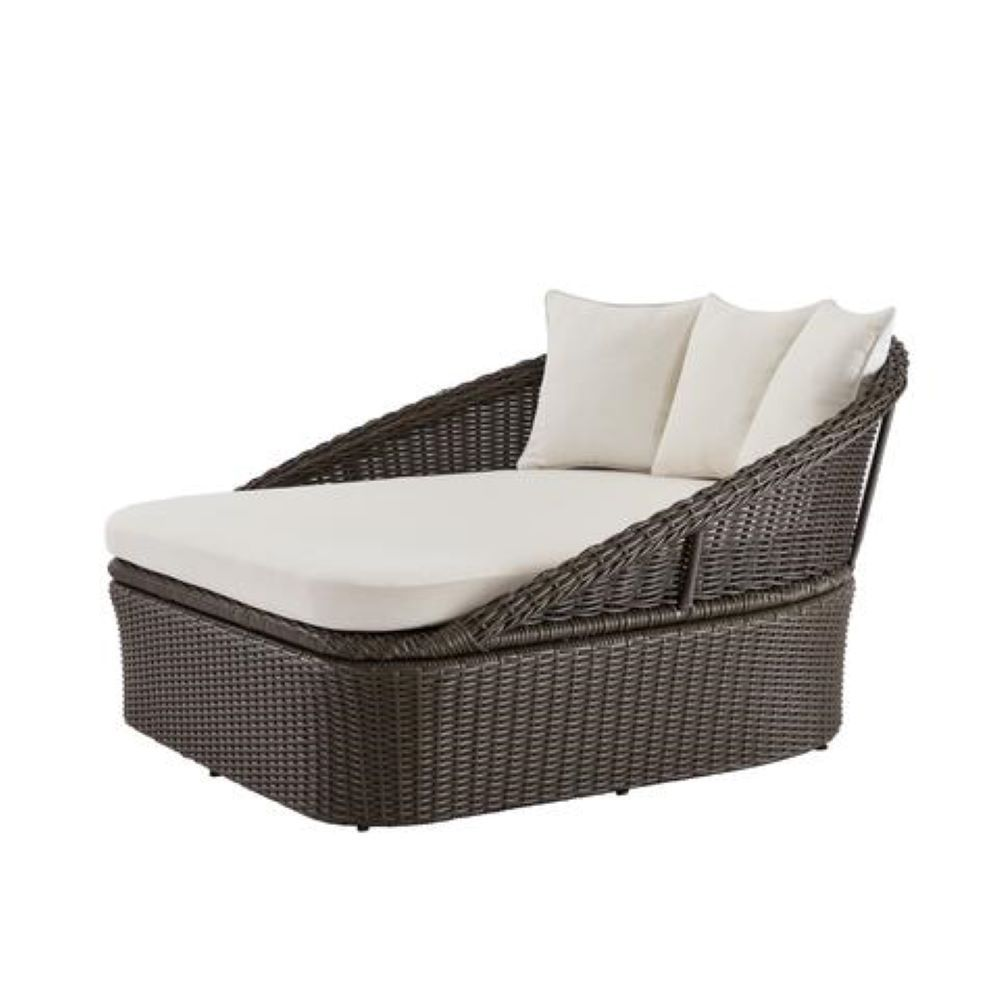 2 person brown wicker outdoor patio daybed with almond cushion