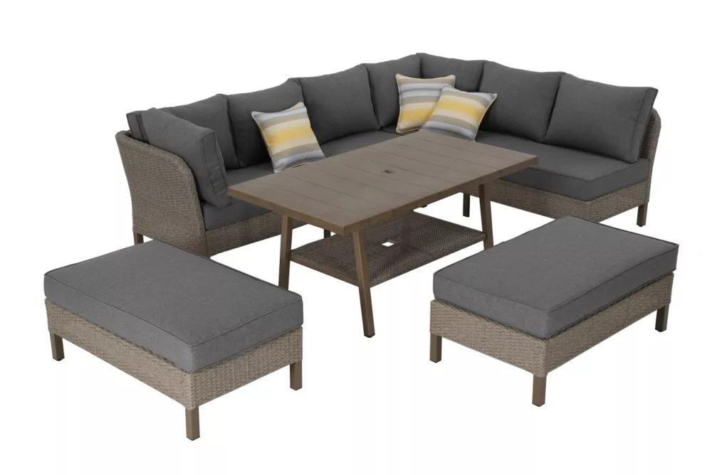 arbor point 5 piece brown wicker outdoor dining set with gray cushions