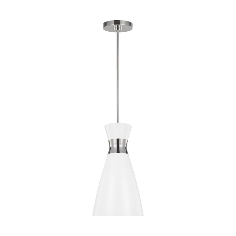 heath 1 light polished nickel pendant with matte white steel shade