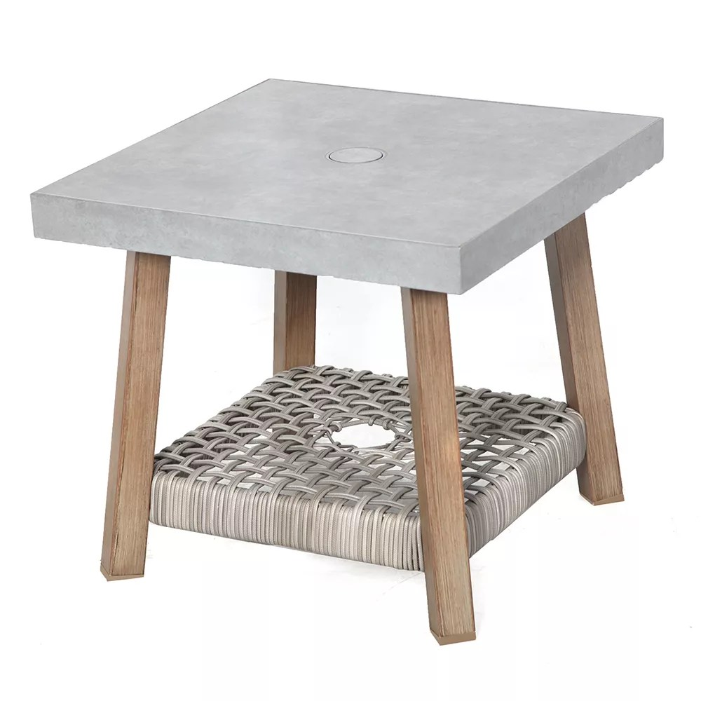 beachside square steel outdoor patio side table with tile top