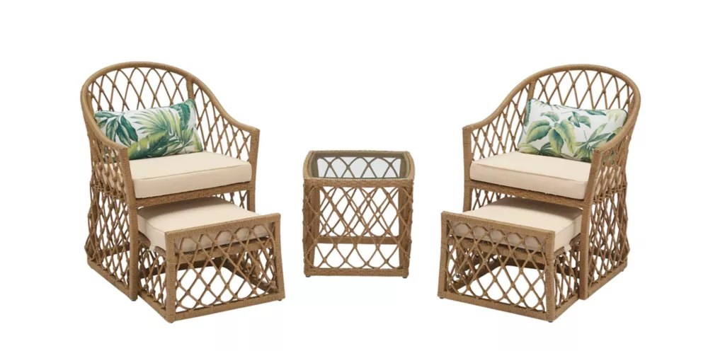 long beach 5 piece steel outdoor patio conversation seating set with beige cushions