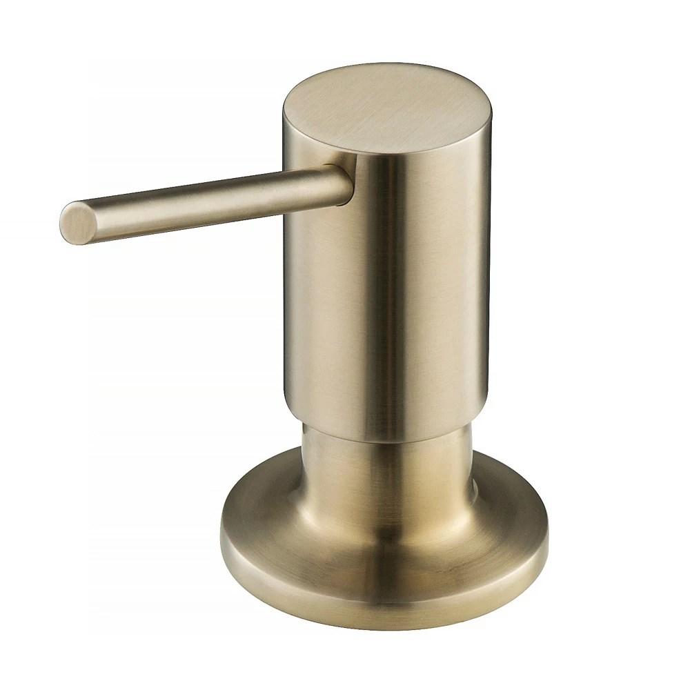kitchen soap dispenser in brushed brass