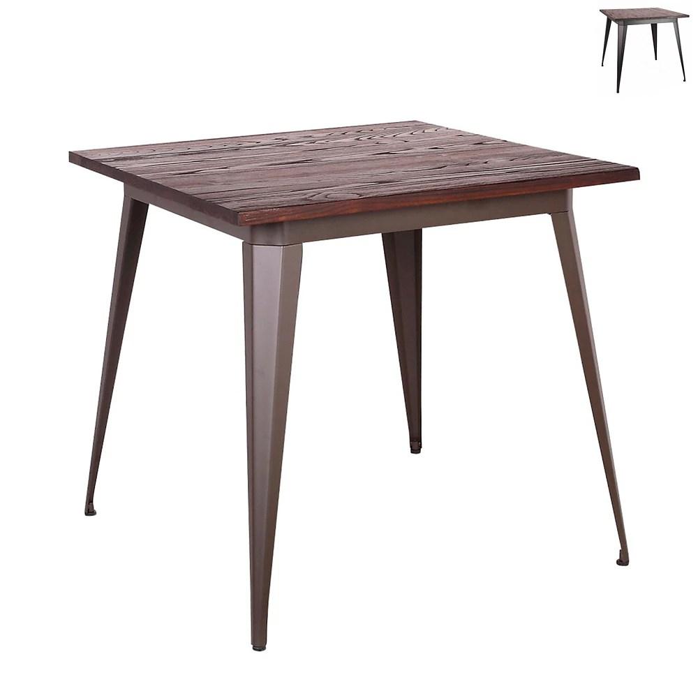 table a manger carree de style industriel 29 5 de hauteur avec plateau en bois d orme