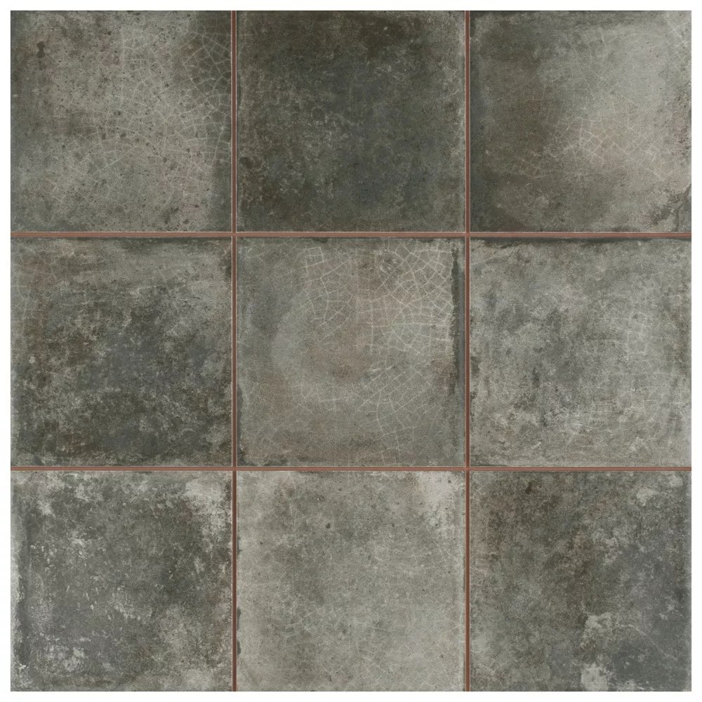 kings etna encaustic 13 1 8 inch x 13 1 8 inch nero ceramic floor and wall tile 12 29 sq ft case