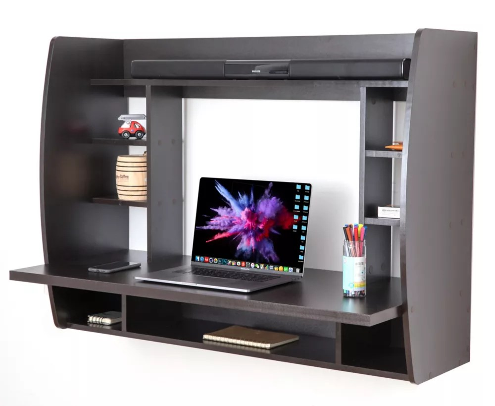 support mural bureau pour ordinateur portable bureau avec etageres noir