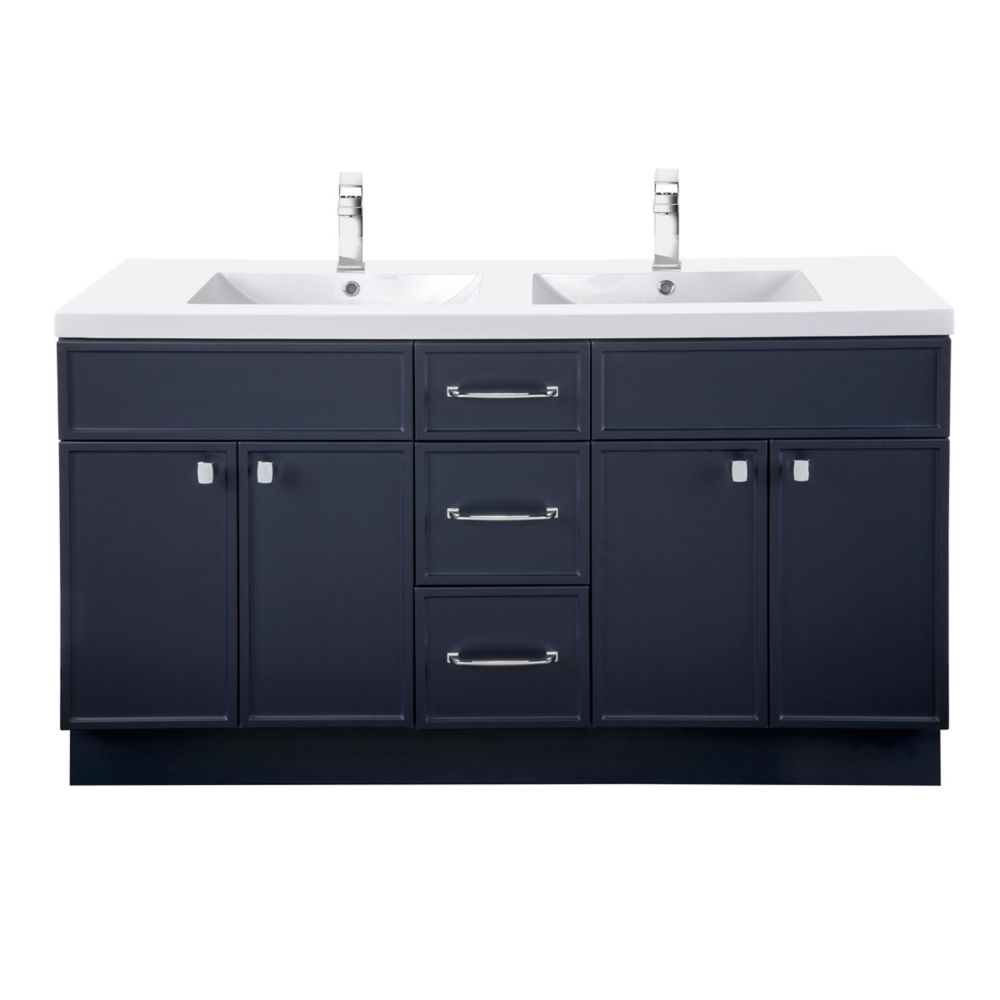 manhattan 60 inch w x 36 1 2 inch h x 21 inch d 4 dr 3 drw double sink free standing vanity blue with rectangle basin