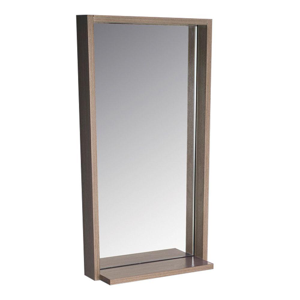 allier miroir mural encadre 16 po l x 31 50 po h avec tablette en chene gris