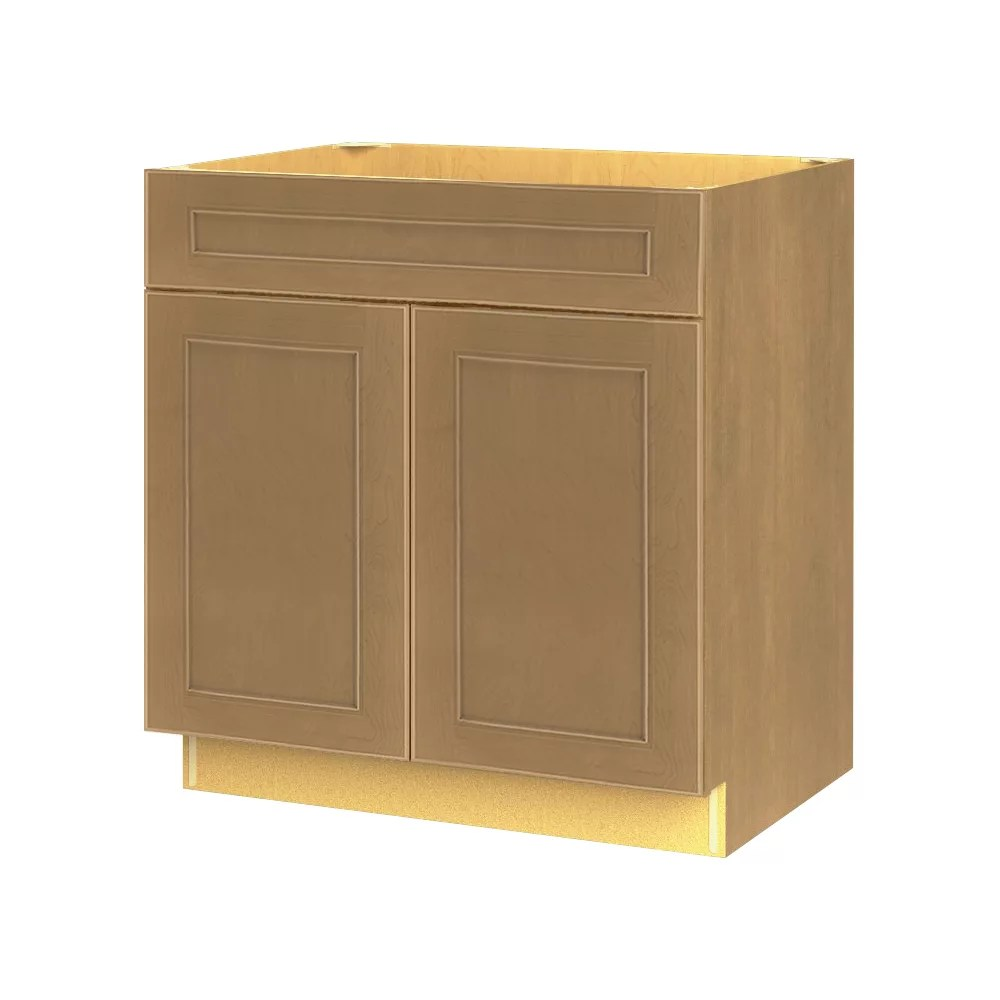 rhodes 30 inch w x 34 6 inch h x 24 inch d shaker style assembled kitchen sink base cabinet cupboard in tumbleweed amber brown bs30
