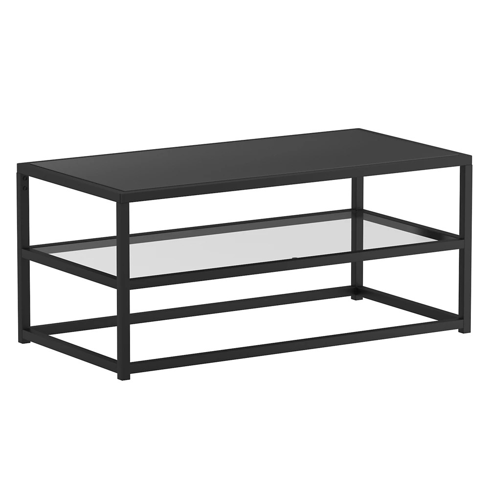 contemporary 2 tier glass and metal coffee table