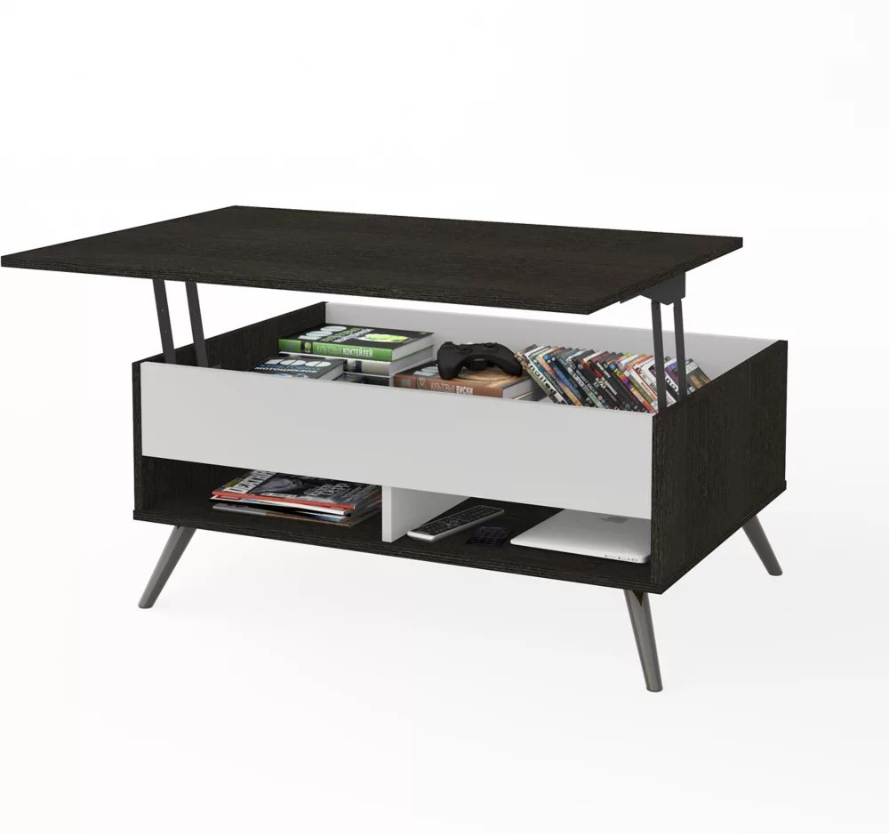 small space krom 37 inch lift top storage coffee table in deep grey and white