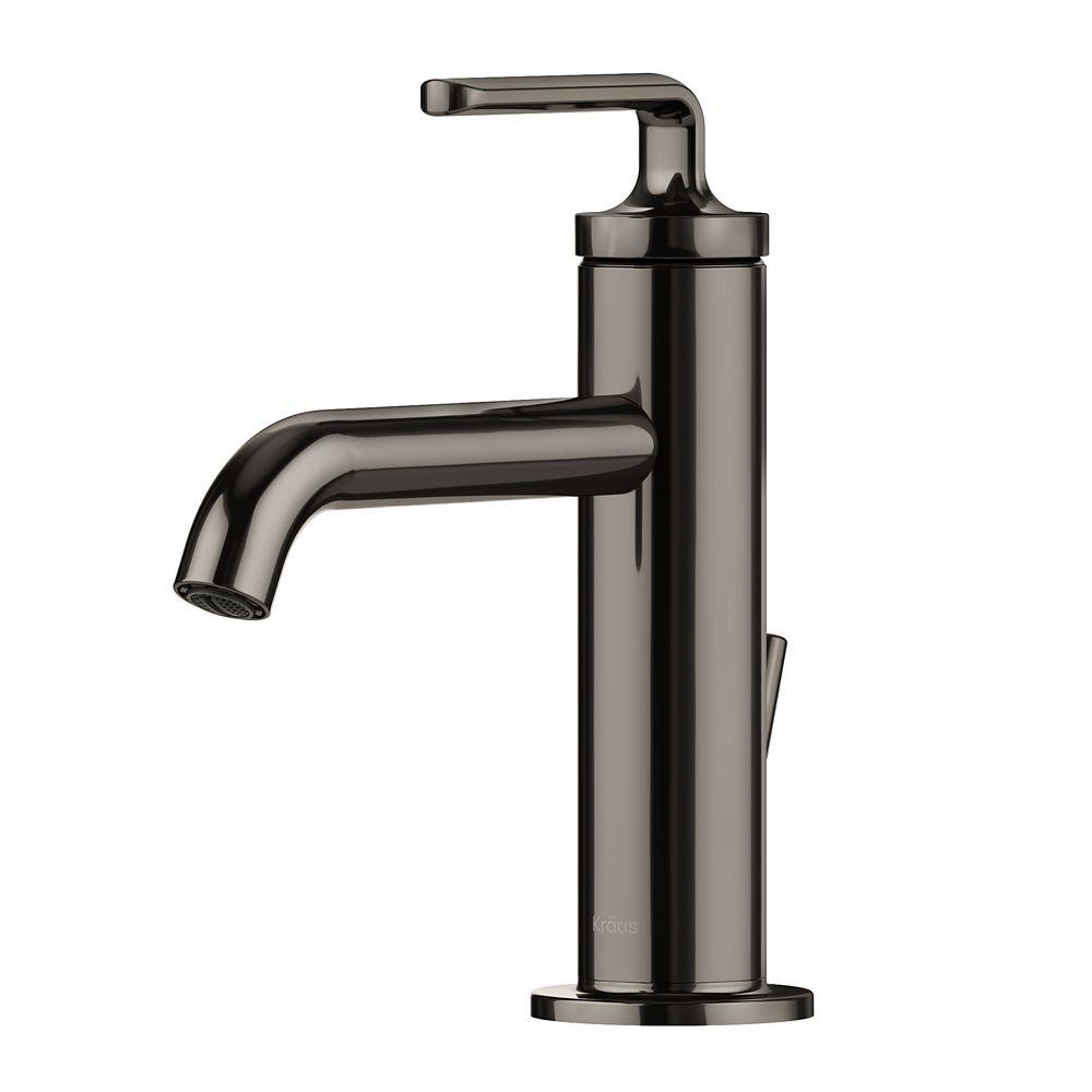 ramus single handle bathroom sink faucet with lift rod drain in gunmetal
